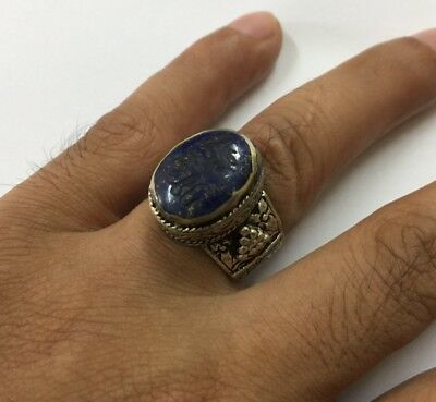 Persian Engraved Oval Lapis Rings Vintage Arabic Intaglio Islamic Antiques 9.5