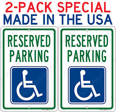 2-Pack Reserved Handicap Parking Sign ONLY $7.39 each Aluminum Metal Signs 8x12