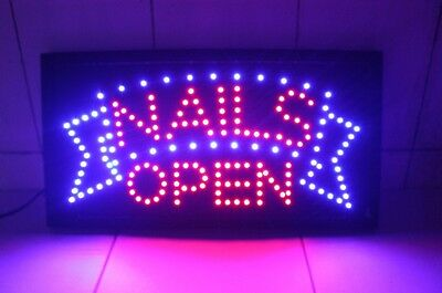 NAILS LED Animated Store Signs Neon Bright Display Open Shops Salon Hair US-3G