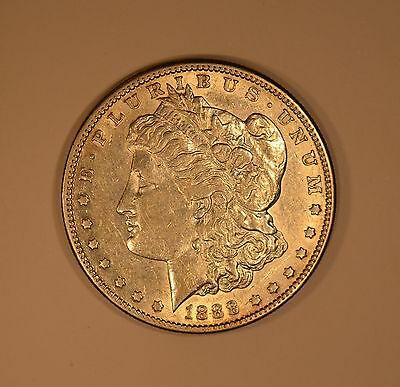 1888-S Morgan dollar.  Original better date coin with some frosty mint luster.