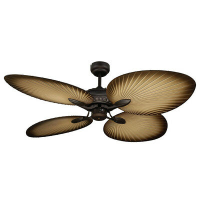 """NEW Martec Oasis Old Bronze Palm Leaf 52"""" Balinese Tropical Ceiling Fan - MOF134"""