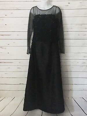 Black Montage by Mon Cheri Mother-of-the-Bride Formal Beaded Layer Ruffle Dress