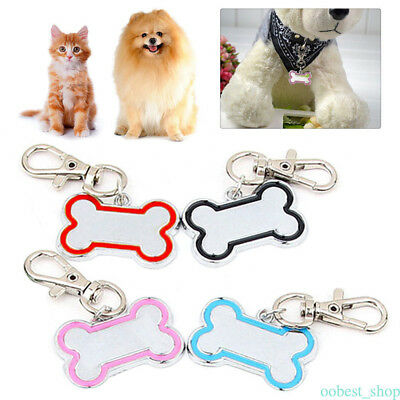 Cute Engraved Personalized Pet Tag ID Dog Cat Name Tags Bone Shape 4 Colors ost