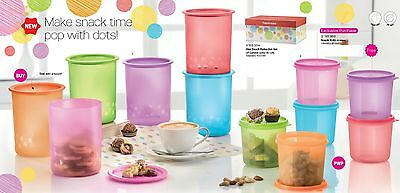 Tupperware one touch polka dot set canister 6+6