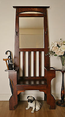 Rustic Antique Arts & Crafts Oak Hall Stand / Hat & Coat Stand / Hall Seat