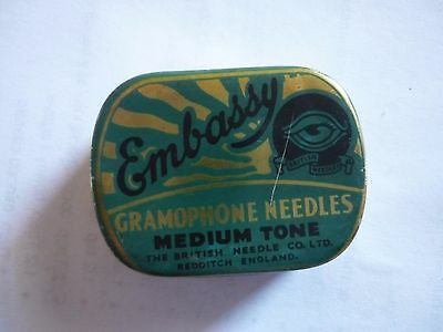 Vintage Gramophone Needle Tin Embassy