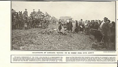 1917 Antique Print- Ww1-France-Inhabitants Of Cantaing