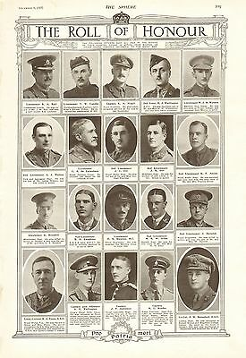 1917 Antique Print- Ww1-Roll Of Honour 2