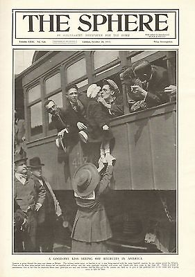 1917 Antique Print- Ww1 - Goodbye Kiss,seeing Off Recruits In America