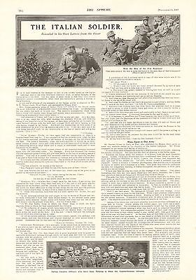 1917 Antique Print- Wwi - Article- The Italian Soldier