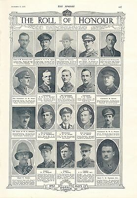 1917 Antique Print- Ww1-Roll Of Honour 3