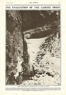 1917 Antique Print- Ww1-The Evacuation Of The Cadore Front