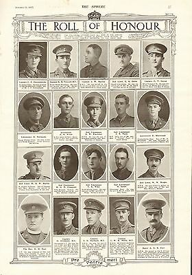1917 Antique Print- Ww1-Roll Of Honour 6