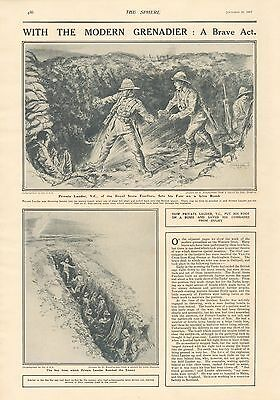 1917 Antique Print- Wwi - With The Modern Grenadier