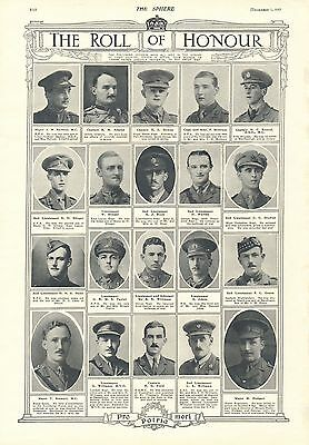 1917 Antique Print- Ww1-Roll Of Honour 1