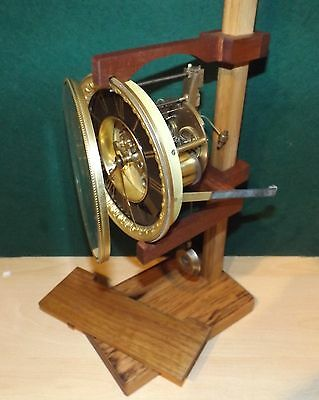 Universal clock movement test stand made from reclaimed hardwood fits most types