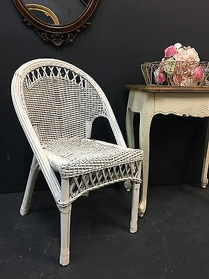 shabby chic white wicker cane chair indoor outdoor occasional chair