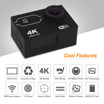 Action Camera Ultra HD 4K WiFi 1080P 2.0'' LCD Helmet Waterproof Camcorder BD