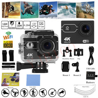 "4K WIFI Sport Action Camera 2"" DV 1080P HD Cam DVR Waterproof+Mount+Battery SG"