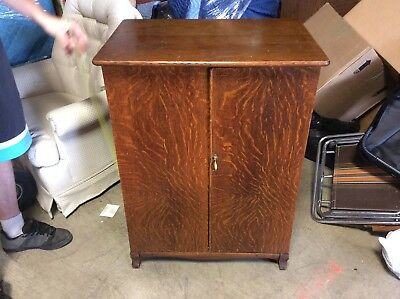 Vintage Quarter Sawn Wooden Storage Cabinet Tiger Oak