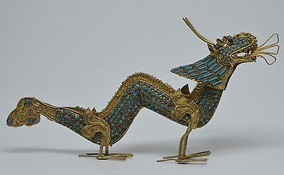 Vintage Turquoise Inlaid Tibetan /Nepali Brass Dragon ~ 9 inches long
