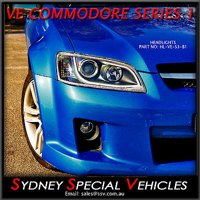 Drl Headlights For Ve Commodore Series 1 Black With Led Daytime Running Lights