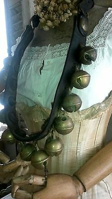 """Antique Horse sleight jingle bells on 42"""" thick leather belt....!!"""