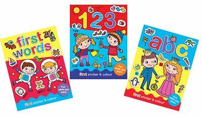 Educational First Sticker & Colouring Fun Books, Words, Numbers, ABC  3+ 3 books