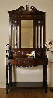 Rustic Antique Style Carved Mahogany 1 Drawer Hall Stand / Hat & Coat Stand