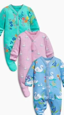 Girls Floral Swan Sleepsuits, 3 Pack, 6-9 Months, Message For More Sizes