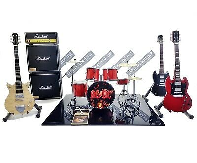 Mini LIVE stage AC/DC Angus young guitar + drums miniature diorama rock acdc