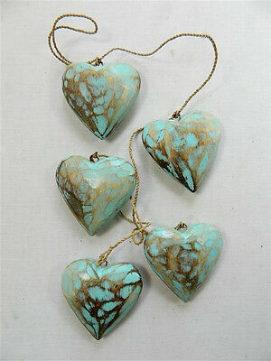 Wooden Hanging Heart Wall Art - String of 5 Shabby Chic Hearts - Vintage Blue
