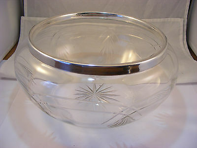 large Bowl with solid silver rim, Sheffield 1973