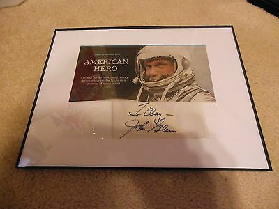 John Glenn Autograph and Inscribed Cut with Photo Framed