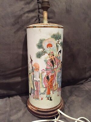 Antique Chinese Handpainted Table Lamp (Damaged)