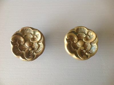 "Vintage Brass Drawer Pull Chunky 2"" Knobs Shabby Hardware Chic Aged Patina"