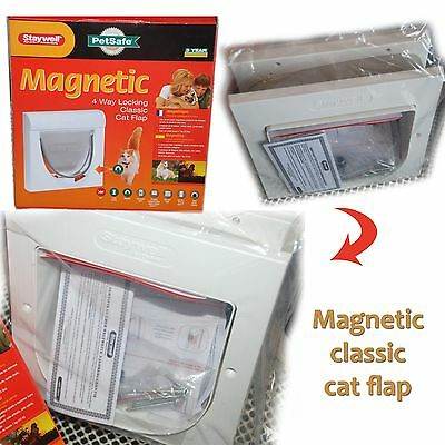 PetSafe Staywell Magnetic 4 Way Locking Classic Cat Flap Door - White