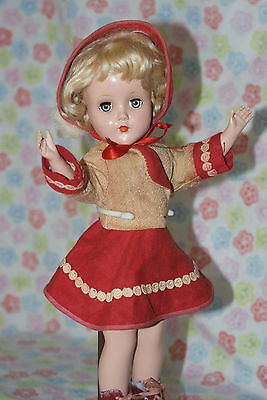 "BEAUTIFUL!! Vintage 14"" Nanette Hard Plastic Strung Doll In Rare Skating Outfit"