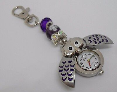 Pretty Owl Fobwatch on Beaded Key / Bag Chain