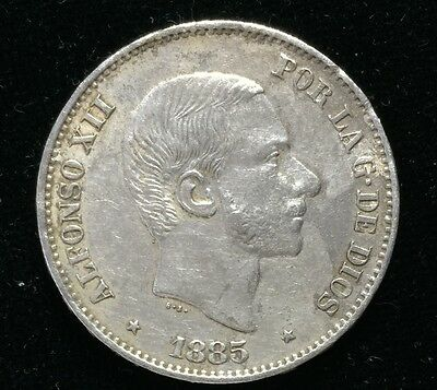 1885 Alfonso 50 centavos Spain-Philippines Silver Coin - lot 8