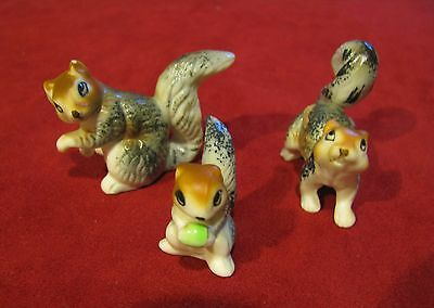 1970s Mini Bone China Squirrel Family Set of 3, Made in Japan Matte Finish Mint!