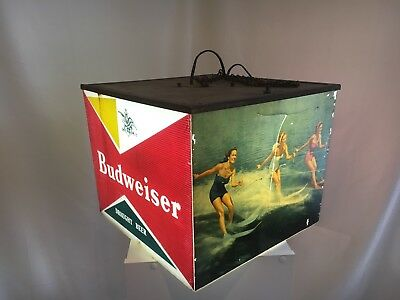 Vintage Hanging Light Bar Decor Lamp Budweiser Beer Sign Women Waterskiing Works