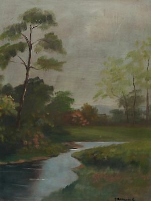 Antique French River Landscape Oil Painting Signed Marquet