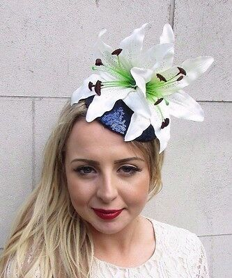 Large Navy Blue White Cream Lily Fascinator Headpiece Sequin Races Wedding 3661