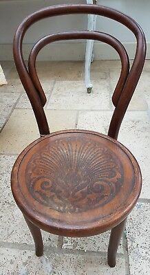Lovely Dark Wood Small Child 1940s Bentwood Chair Pretty Carved Decoration