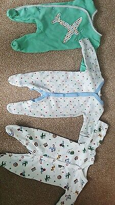 3x next boys sleepsuits up to 1 month