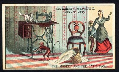 NEW HOME SEWING MACHINE Trade Card 1880's MONKEY and CAT Woman Child