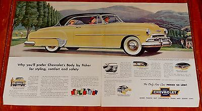 Cool 1952 Chevy Bel Air Coupe In Yellow Large Ad - Vintage 50S American Auto