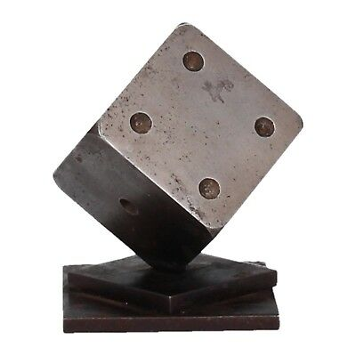 A modernist steel dice paperweight. Vintage