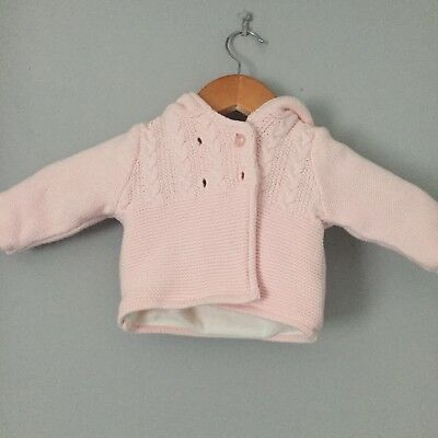 Mothercare Baby Girl Cardigan. 0-3 Months. Fleece Lined.